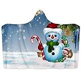 Manta con capucha para llevar de Navidad, muñeco de nieve de invierno, manta suave de forro polar coral, poncho cálido y acogedor, manta para niños, adultos, regalo de 39 x 51 pulgadas