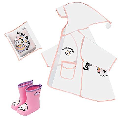 SCHUANG Kinder Regenmantel Mit Regenstiefeln Set Baby Regenanzug Kinder Wasserdichter Poncho Outdoor Spiel Oberbekleidung Für Jungen Und Mädchen 5-8Y,PinkXXL-17