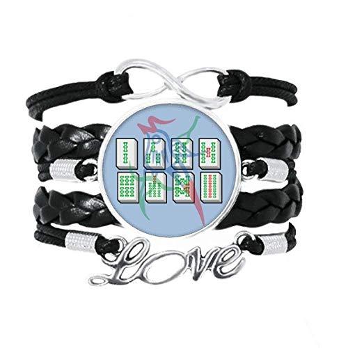 OFFbb-USA Mahjong - Pulsera con números de plata recta, accesorio de amor, cuero trenzado