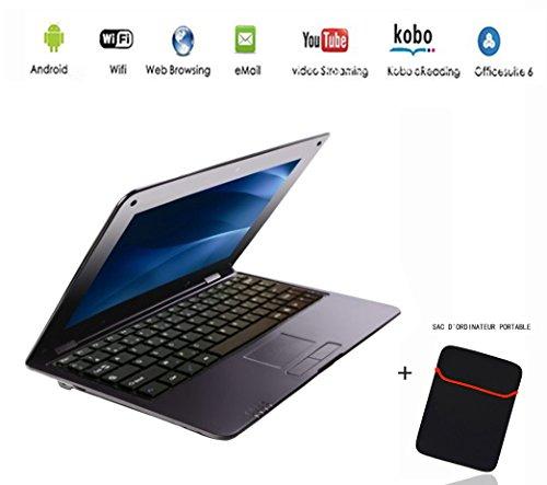 G-Anica® Netbook Laptop Ultrabook mit Android 4.4, 23cm (10,3Zoll) Display, (HDMI, WiFi, Ethernet, 1,5GHz 512MB + 4GB), mit einer Notebook-Tasche schwarz schwarz