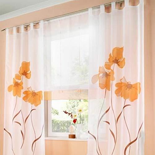 Souarts Stickerei Gardine Vorhang mit Schlaufen Blumen Transparent Schlaufenschal für Wohnzimmer Schlafzimmer 1er Ohne Raffgardinen (150cmx245cm, Orange)
