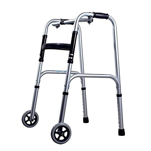 FHISD Bastidor de Andador con Ruedas, Ayuda para Caminar de Movilidad Ligera y Plegable, bastón Antideslizante para Andador de rehabilitación para Personas Mayores con Marco para Andar de Hospital