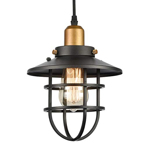 WILDSOUL Lighting 20021TG Industrial Farmhouse Pendant, with Cage, LED Compatible Vintage Bar Counter Kitchen Indoor Lighting Fixture with Bulb, Dimmable Adjustable Cord, Special Graphite Finish Black