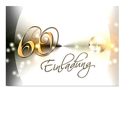 DigitalOase Einladungskarten 60. Geburtstag MIT INNENTEXT Geburtstagskarten MENGE WÄHLBAR Klappkarten Kuverts Format DIN A6#YANG (10)