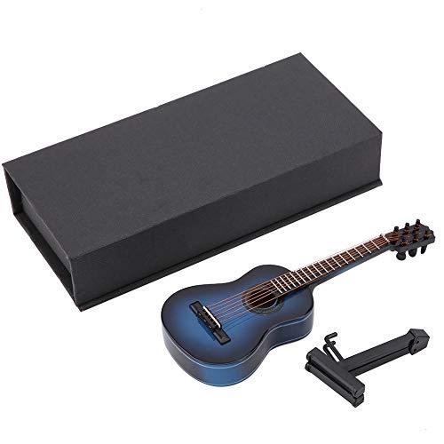 Mini modelo de guitarra, modelo de guitarra de madera en miniatura, pantalla, Mini adornos musicales, artesanía, decoración del hogar(Azul 02)