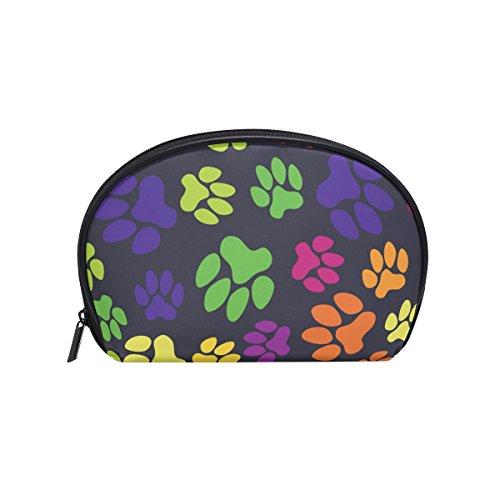 TIZORAX - Bolsa para cosméticos con huellas de gato y perro, diseño de huellas de arcoíris