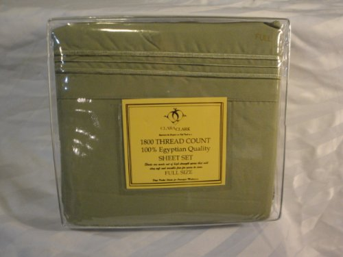 Sage Green Egyptian Bedding Full/Double Sheet Set Luxurious 1800 Thread Count by Clara Clark