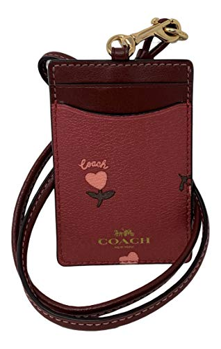 Coach Badge Lanyard ID Holder - Wine Multi