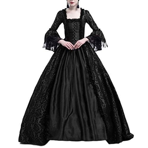 LaoZanA Disfraz De Medieval para Mujer Vestido Renacentista Traje De Princesa Negro 3XL