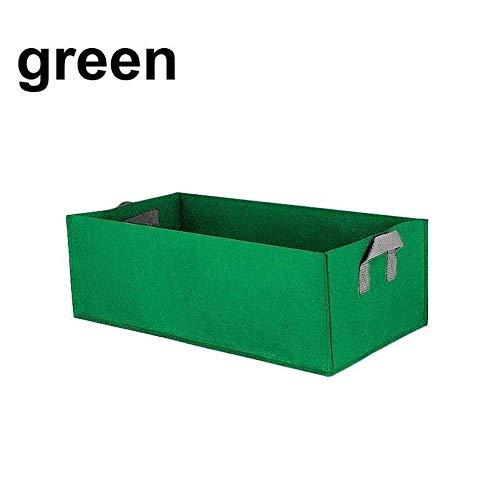 YANJ Maceta suculentos, de Gran Capacidad Rectangular Grow Jardineras Bolsas Aire Libre Jardín Maternal La siembra Containe Anti-corrosión de Fieltro no Tejido (Color : Green, Size : 40x30x20cm)