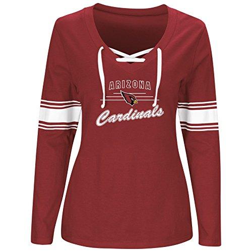 NFL Arizona Cardinals Women L/S JERSEY V NECK TEE, RED/WHITE, 4X
