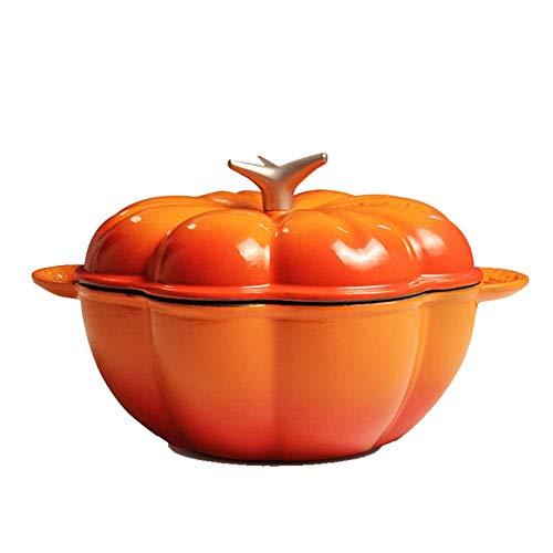 Pompoen Pot Emaille gietijzeren pan met deksel, Casserole Schaal, Antistick pan, Antistick Nederlands Oven-Oranje