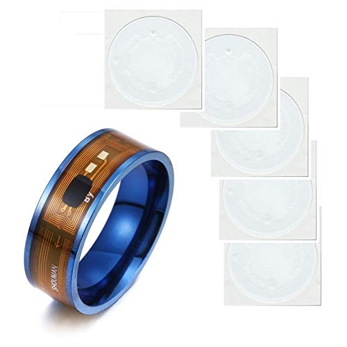 MCalle NFC Smart Ring con chip NTAG213 (180 byte) nelle misure USA 6-13 con 5 adesivi NTAG213 (180 Byte) (6, blu)