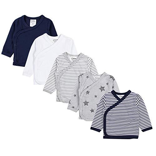 TupTam Baby Jungen Langarm Wickelshirt Baumwolle 5er Set, Farbe: Mehrfarbig 8, Größe: 50