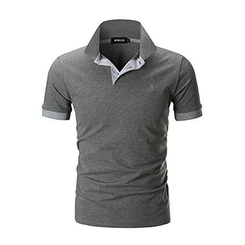 APAELEA Polos Homme Manches Courtes Couleur Contrastée Coton Brodé Girafe T-Shirts,Gris,L