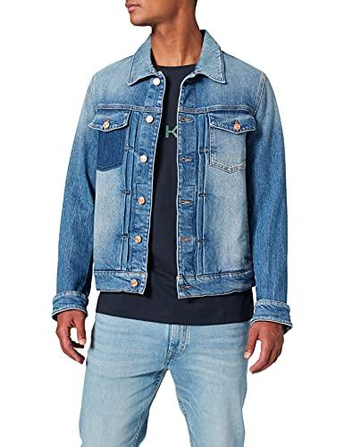 7 For All Mankind Herren Trucker Pleated Jacket Jeansjacke, Blau (Broadway Shadow Mid Blue 0Ax), Medium (Herstellergröße:M)