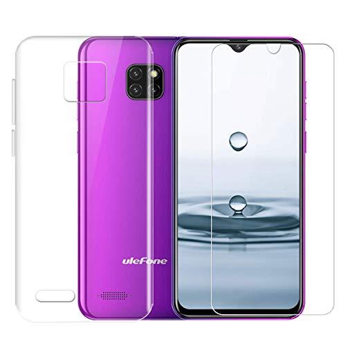 LJSM Hülle für Ulefone Note 7 2019 Transparent + Panzerglas Displayschutzfolie Schutzfolie - Weich Silikon Schutzhülle Crystal Flexibel TPU Tasche Case für Ulefone Note 7 (6.1