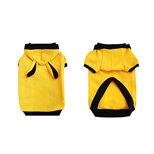 Youthdog Rabbit Costume Yellow Hoodie with Striped Dog Clothes for Small Medium Large Dogs pet Sweater Sweatshirts French Bulldog Chihuahua Yorkie Apparel (Small)