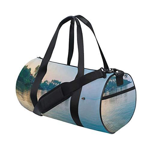 HARXISE Bolsa de Viaje,Rayos de Sol de la mañana y Palmeras en el Borde de la Playa de Verano Relájese Tema Tranquilo (2),Bolsa de Deporte con Compartimento para Sports Gym Bag