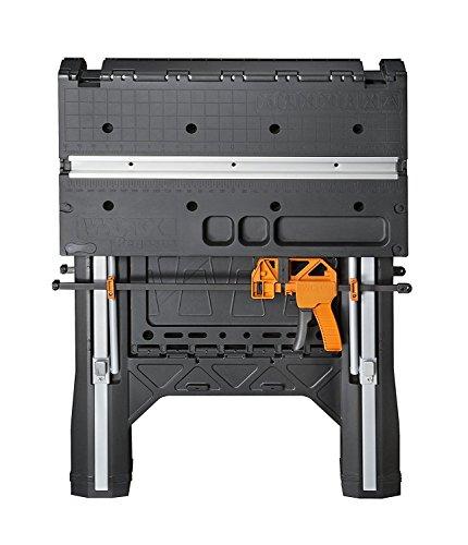 WORX WX051Pegasus Table de travail et chevalet de sciage multifonctions, avec colliers de serrage rapide et piquets de maintien, noir
