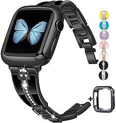 Black Diamond Rhinestone Metal Jewelry Wristband Strap for iwatch