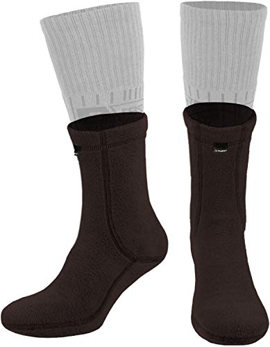 281Z Military Warm 6 inch Boot Liner Socks - Outdoor Tactical Hiking Sport - Polartec Fleece Winter Socks (Medium, Brown Bear)