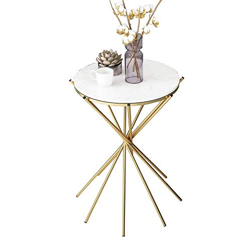 GAOLIM Table d'appoint en marbre Salon Nordique Ronde Mini Petite Table Ronde Canapé d'art en Fer Table d'angle Balcon Table Basse Support à Plante, 15,7\