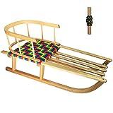 HAMMEL WAREZ Holz-Schlitten für Kinder mit Sitzlehne, Stahlkufen, Seil SN-W-C