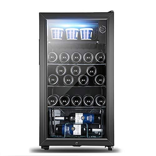 XJBHRB Vinoteca - Mini Nevera Negra | 120L, Nevera de vinos y Bebidas | Luz LED + 3-15 ° C | Low Energy B + (Black) [Clase de energía B +]
