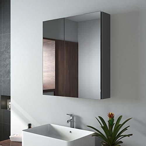 EMKE Spiegelschränke, 60x65cm Bad Spiegelschrank Badschrank mit Doppelseitiger Spiegel (Grau)