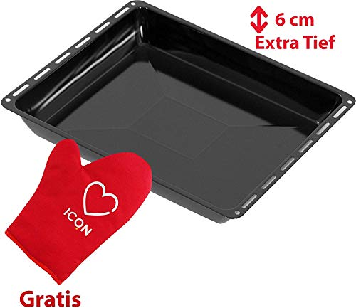 ICQN Extra Tiefes Backblech | Passend für Bosch Siemens Neff Constructa Profilo Backofen | Blech | Emailliert | Kratzfest | 455 x 377x 60 mm