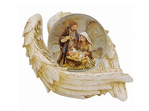 Schneekugel Krippen-Szene Jesus Geburt in Engelsflügel aus Poly und Glas - Weihnachtsdeko Winterdeko - tolles Mitbringsel - (beige-bunt) B10 x H6 cm (Motiv 2)