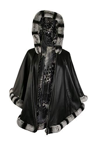Zerimar Poncho Mujer | Poncho Pelo Rex Mujer | Abrigo Capa Mujer Casual | Poncho Elegante Mujer | Poncho Capa Mujer Pelo | Abrigo Capa Mujer | Poncho Piel Mujer