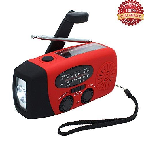 Lychee Solaire Auto-Powered Dynamo d'urgence Manivelle Wind-Up AM/FM/WB Radio numérique LED Lampe Torche, Beacon, Chargeur de téléphone Portable en Plein air