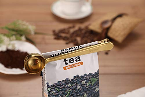 YUESHICO Stainless Steel Coffee Measuring Scoop n Cafe Clip, Coffee Scoop/Spoon with Bag Clip (Rose Gold) (Gold)