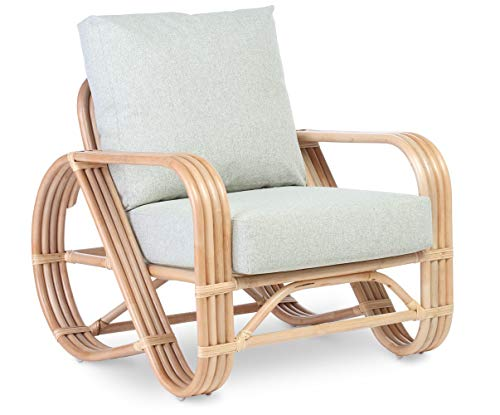 Desser Pretzel Cane Chair – Fully Assembled Natural Rattan Indoor Living Room or Conservatory Armchair