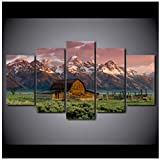 JYSHC Leinwand Gemälde Scheune Rocky Mountains Hütte