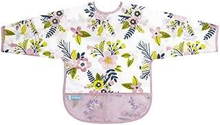 Kushies Cleanbib Waterproof Bib with Sleeves, Pink Garden Flowers, 12-24 Months