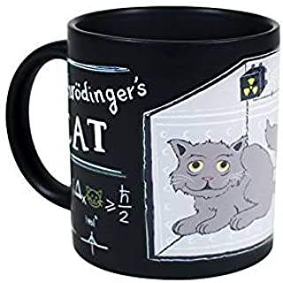 Schrodinger`s Cat Heat Changing Mug Set - Add Coffee or Tea and Observe Schrodiner`s Famous Experiment - Comes in a Fun Gi...