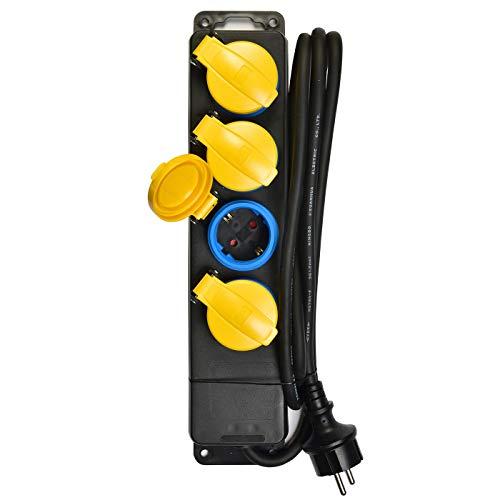 HEITECH 4 fach Steckdosenleiste mit Kindersicherung - GS geprüfte Mehrfachsteckdose für den Außenbereich mit Schalter, 3 Meter Kabel, Belastbarkeit bis 3500W - Steckerleiste Tischsteckdose außen