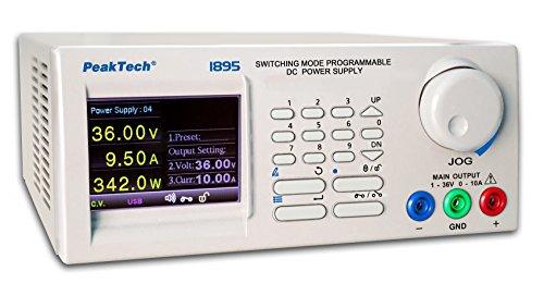 """PeakTech 1895 – Professionelles DC-Labornetzgerät 1-36V/0-10A mit 3,2"""" TFT-Display, Programmierbar, USB, RS-485 (bis 31 Geräte glz.) & LAN-Schnittstelle, Netzgerät, Überlastungsschutz - 90 ~ 264V AC"""