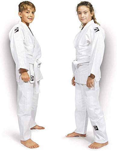 Judo Suit Junior with Black and Green Logo (White/Black, 140)