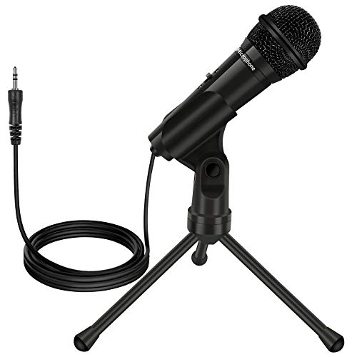 Desktop Microphone,3.5mm Jack Professional Condenser Microphone with Foldable Tripod Stand for PC Laptop Desktop Computer for Recording,Gaming,Streaming Broadcast