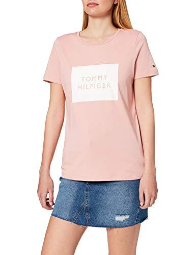 Tommy Hilfiger Regular Tommy Box C-NK tee SS Camiseta sin Mangas para bebés y niños pequeños, Rosa Calmante, M para Mujer