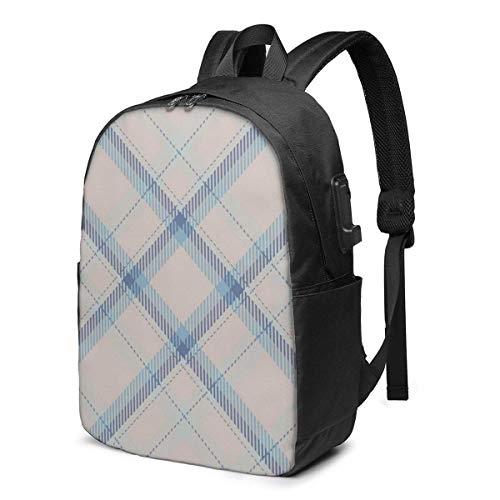 XCNGG Mochila para portátil de Viaje con patrón de Cuadros Escoceses de tartán, Mochila Escolar universitaria, Mochila Informal con Puerto de Carga USB
