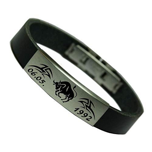 Sternzeichen Leder Armband mit Ihrem Wunsch Datum und Tribal