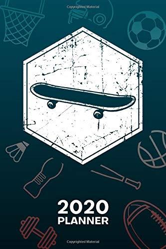 2020 PLANNER: Skateboarder Organizer - Jan-Dec 160 Pages A5 6x9 - Skateboarding Lover Diary Vintage Skater Journal Notebook Old School Skateboarder Calendar - Retro Skateboard Gift for Men & Women