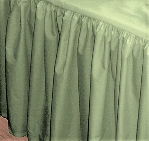 Crib Skirt Dust Ruffle, 100% Natural Cotton, Nursery Crib Toddler Bedding Skirt for Baby Boys or Girls,(Sage Solid - 28' x 52'/14' Drop)
