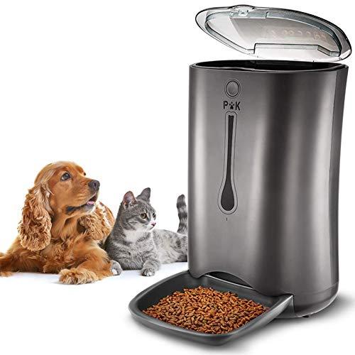 PUPPY KITTY 7L comedero automático para Perros y Gatos, Alimentador automático con Temporizador con hasta 4 Comidas por día, Pantalla LCD y función de grabación de Sonido (Negro).