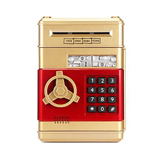 Baalaa Dibujos animados electrónico ATM contraseña Hucha dinero moneda puede Auto Scroll papel dinero ahorro caja regalo para niños (oro+rojo)